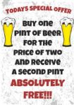 Beer Pint Metal Sign Wall Plaque Special Offer 15X20cm